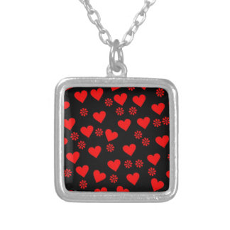 flowers and hearts red square pendant necklace