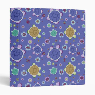 Flowers and Hearts Turtle Pattern 3 Ring Binder