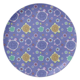 Flowers and Hearts Turtle Pattern Dinner Plate