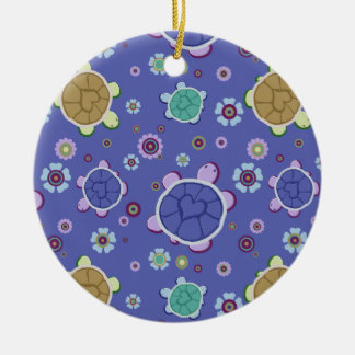 Flowers and Hearts Turtle Pattern Double-Sided Ceramic Round Christmas Ornament