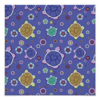 Flowers and Hearts Turtle Pattern Poster