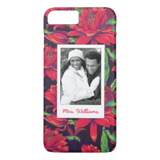 Flowers And Hummingbirds | Add Your Photo & Name iPhone 7 Plus Case