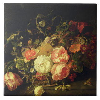 Flowers and Insects, 1711 (oil on panel) Tile