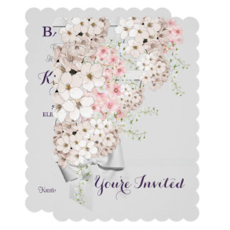 Flowers And Lattice Gray And Pink Party Invitation