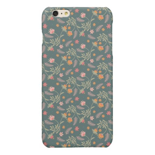 FLOWERS AND LEAVES PATTERN GLOSSY iPhone 6 PLUS CASE