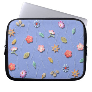 Flowers and leaves windy day computer sleeve
