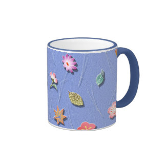 Flowers and leaves windy day ringer mug