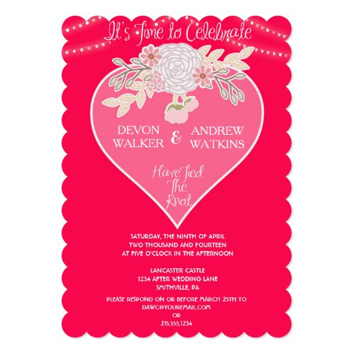 Flowers And Lights After Wedding Party Invitation