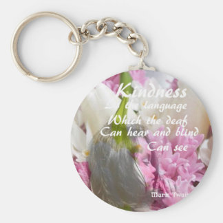 Flowers and message about kindness. keychain
