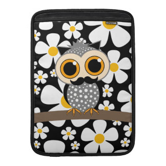 flowers and mustache owl MacBook air sleeves