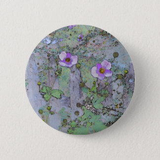 Flowers and Old Fence Pinback Button