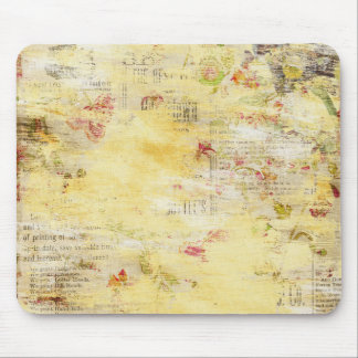 Flowers and Paint Vintage Newspaper Mouse Pad