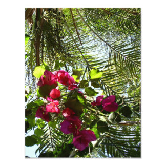 "Flowers and Palm Tree 4.25"" X 5.5"" Invitation Card"