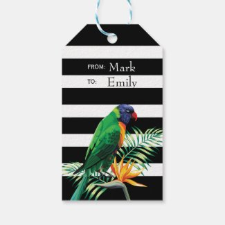 Flowers And Parrot Pattern Pack Of Gift Tags