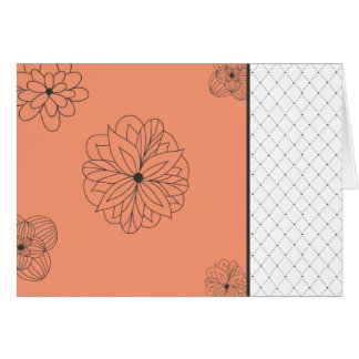 Flowers and Pattern-canteloupe Stationery Note Card