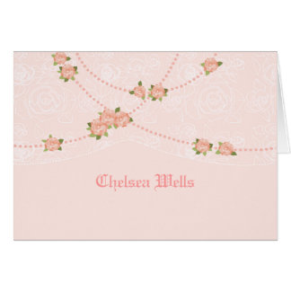 Flowers and Pearls Personalized Notecard Greeting Card