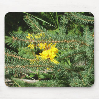 Flowers and Pine Tree Mouse Pad