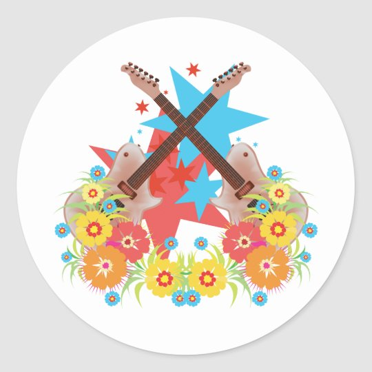 Flowers and pink guitars classic round sticker