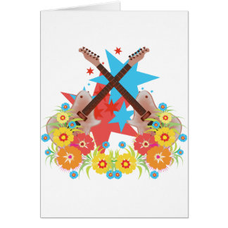 Flowers and pink guitars greeting card