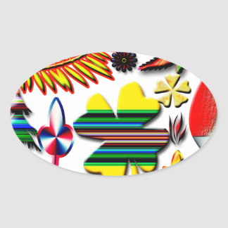 flowers and plants oval sticker