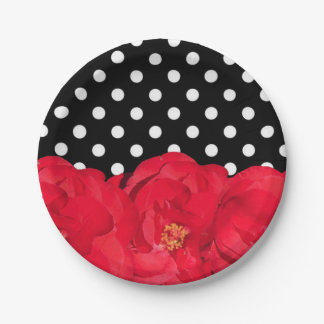 Flowers and Polka Dots party plates