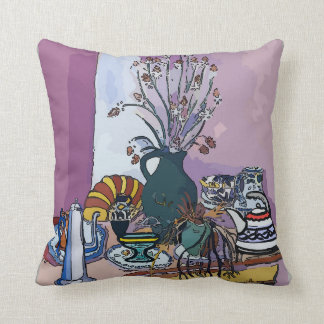 Flowers and Purple Vase Throw Pillow
