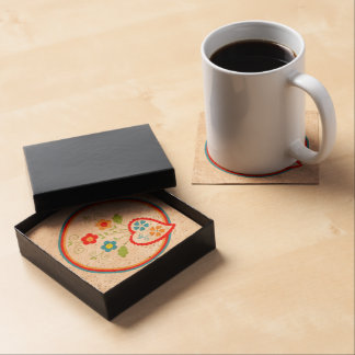 Flowers and red Portuguese hearts Coasters