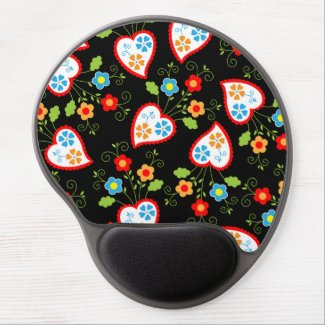 Flowers and red Portuguese Hearts Gel Mouse Mats