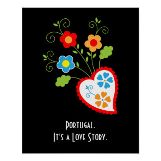 Flowers and red Portuguese Hearts Poster