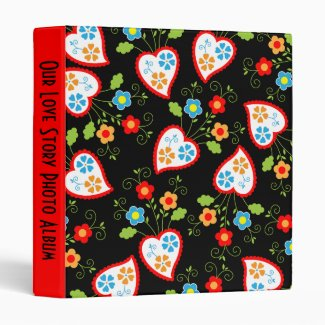 Flowers and red Portuguese Hearts Vinyl Binder