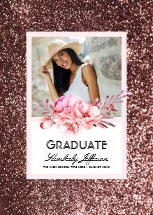 Gold glitter graduation invitations zazzle flowers and rose gold glitter photo graduation invitation filmwisefo