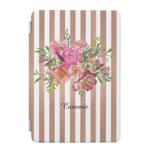 Flowers and Rose Gold Stripes iPad Mini Cover
