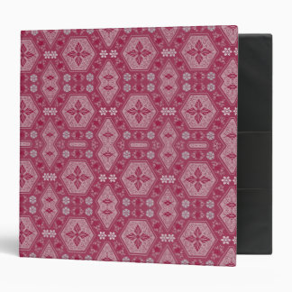 Flowers and Shapes in Raspberry Red 3 Ring Binder