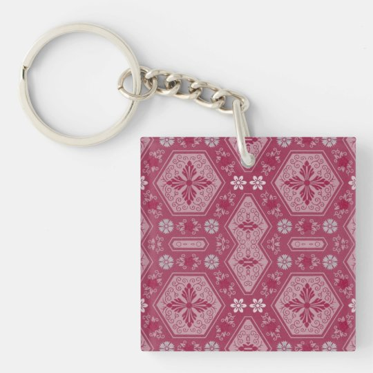 Flowers and Shapes in Raspberry Red Keychain