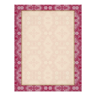 Flowers and Shapes in Raspberry Red Letterhead
