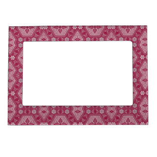 Flowers and Shapes in Raspberry Red Magnetic Frame