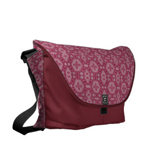 Flowers and Shapes in Raspberry Red Messenger Bag