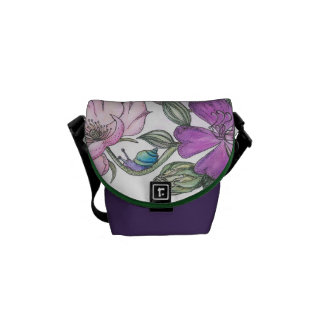 flowers and snail messenger bag
