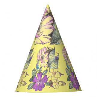 flowers and snails party hat