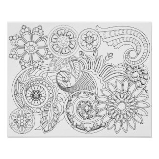 Flowers and Spirals: DIY Coloring Poster