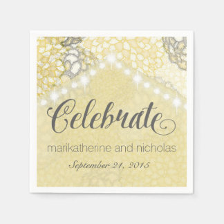 Flowers and String Lights Wedding Napkins