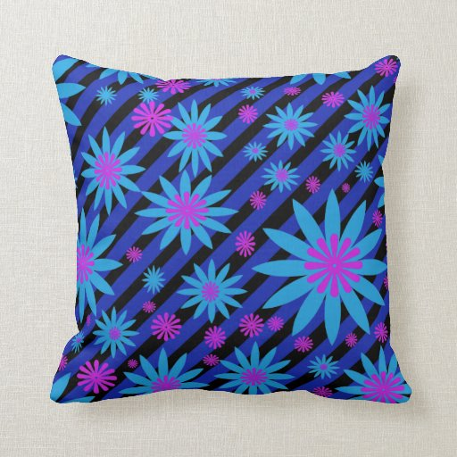 Flowers and stripes accent pillow