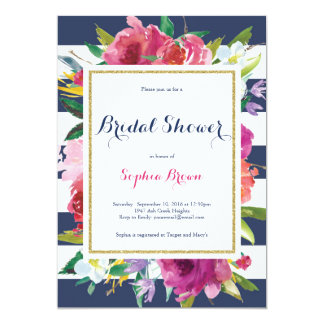 Flowers and Stripes Bridal Shower Card