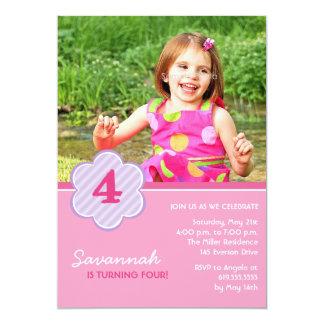 Flowers and Stripes Girls Photo Birthday Invite
