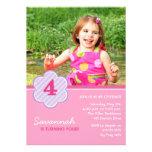 Flowers and Stripes Girls Photo Birthday Invite Invites