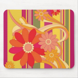 Flowers and Stripes Mouse Pad