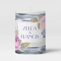 Flowers and Stripes Pillar Candle