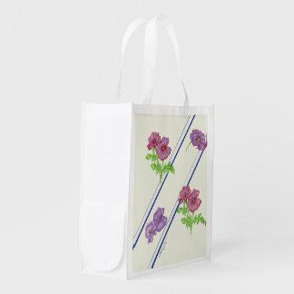 Flowers and Stripes Reusable Bag Reusable Grocery Bag