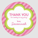 Flowers and Stripes Thank You Sticker Round Stickers