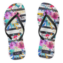 Flowers and Stripes | Trendy and Bright Monogram Flip Flops